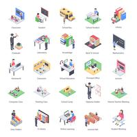 Pacote de ícones do professor crianças e escola isométrica