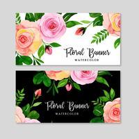 Conjunto de banner floral acuarela