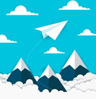 concept of business success. paper plane flying on sky between cloud and mountain