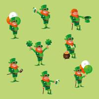 set of comic leprechaun character