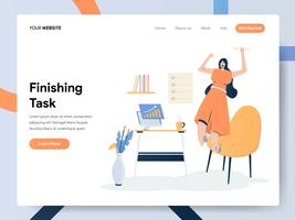 Landing page template of  Businesswoman Finishing Task