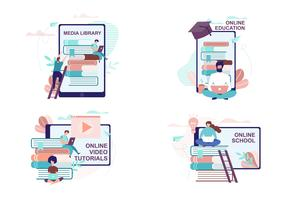 Remote Education and Training Advertisement Set