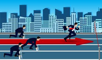Businessmen competition run to the finish line to success in business.