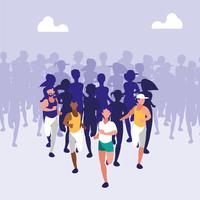 athletic people running a race