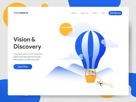 Landingpage-Vorlage von Vision and Discovery Hot Air Balloon vektor