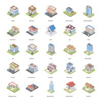 Buildings Isometric Icons Pack