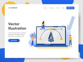Landing page template of Create Vector Illustration on Laptop Concept