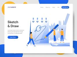 Landing page template of Sketching and Drawing on Paper