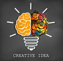 creative brain icon with light bulb sparking