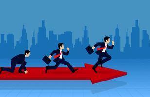 Konkurrierender Betrieb des Geschäftsmannes auf dem Pfeil