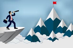 Business cliff success concept vector