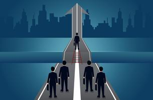 Businessmen compete on the road to success