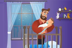 Lycklig far som rymmer sovande bebis