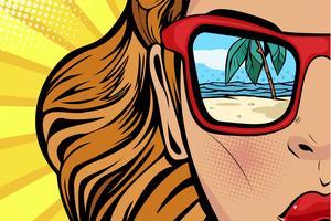 Mulher, com, praia, e, mar, reflexão, em, verão