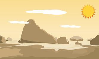 Ilustración de paisaje y colinas de vista a la montaña