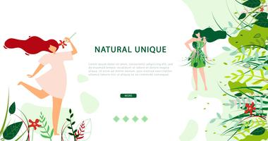 Horizontal Flat Banner Natural Unique Lifestyle vector