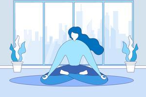 Mulher, medita, sentando, sala de estar, chão