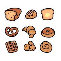 Conjunto de Doodle de padaria desenhados à mão