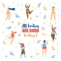 Diferentes tamaños y tipos de mujeres en bikini bailando