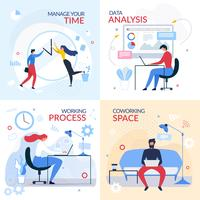 Working Banner Set with Flat Cartoon Office People vector