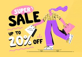 Chica patinando con bolsas de compras en Super Sale