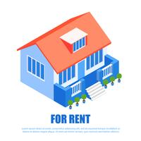 Lettering for Rent Isometric vector