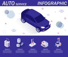 Auto Service Infographic with Isometric Icons