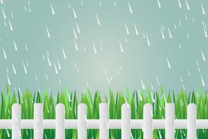 Grass fence on day with torrential rain