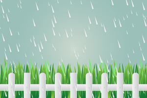Grashek op dag met stortregens