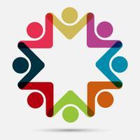 Oito pessoas no logotipo do círculo
