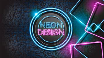 Pink and Blue Abstract Glowing Neon Black Background Design