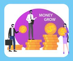 Money Grow People Man Woman with Dollar Coin Stack vector