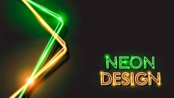 Orange and Green Abstract Glowing Neon Black Background Design