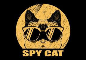 Spy cat with eyeglasses vector