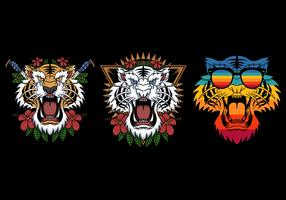 tiger head in different styles vector