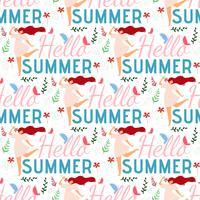 Hallo zomer vrouwelijke naadloze platte patroon