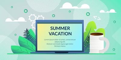 Flat Banner Poster Inscription Summer Vacation