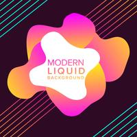 Pink and Orange Liquid color background design with trendy shapes composition