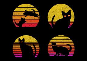 Set of 4 cats in front of sunrise vector