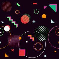 Sfondo nero di forme geometriche alla moda memphis hipster