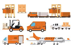 transportation merchandise logistic cargo vector