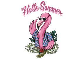 Hello summer flamingo vector