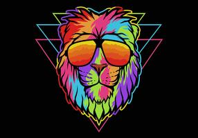 Rainbow lion wearing eyeglasses
