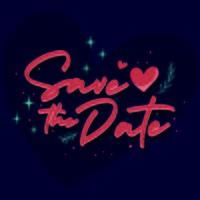 Sparen de datum vintage tekst voor trouwdag