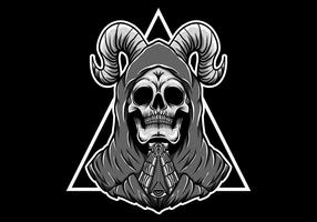 Praying skull with horns