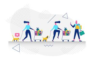 Characters Grocery shopping  vector