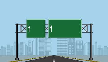 Sinais de estrada rodoviária, placa verde na estrada