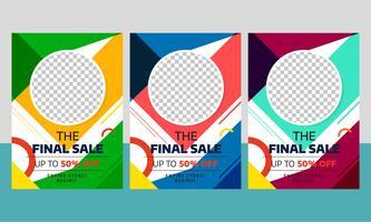 Modern försäljning reklambladmalldesign med olika färger