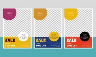 Modern försäljningsreklamblad med tre olika färger