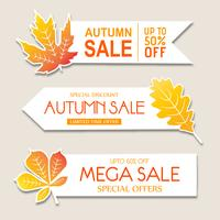 Beautiful Watercolor Autumn banner Collection vector